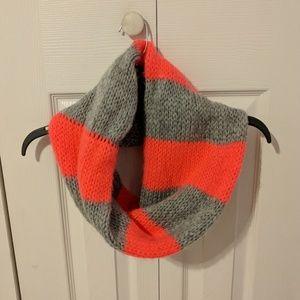 Pink grey knit infinity scarf
